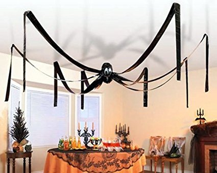 McToy Hanging Halloween Plastic Spider, 20 Foot, Black