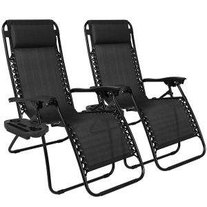 Best Choice Products Zero Gravity Chairs Case Of (2) Black Lounge Patio Chairs Outdoor Yard
