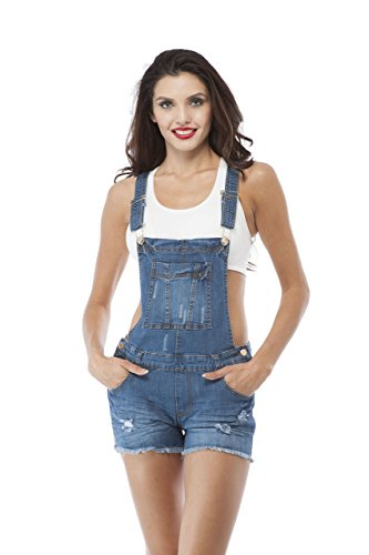 Denim Jean Distressed Overall Shorts (Large, Mediumblue )