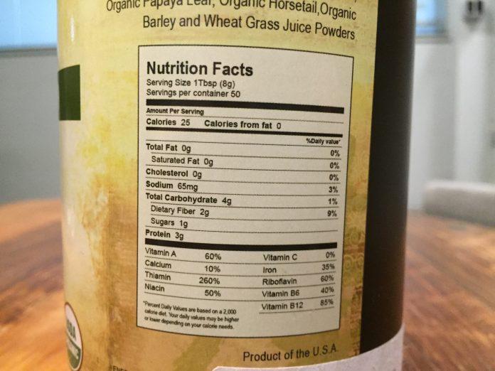 Enerfood ingredients