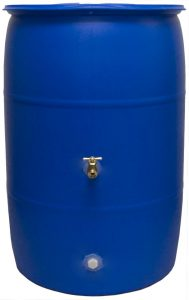 Good Ideas RB55-BLUE Big Blue Recycled Rain Barrel, 55-Gallon