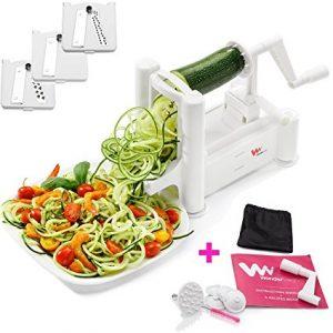 WonderVeg - Spiral Vegetable Slicer - Veggie Spiralizer - Zucchini Spaghetti Pasta Noodle Maker - Cleaning Brush, Mini Recipe Book, 6 Spare Parts Included