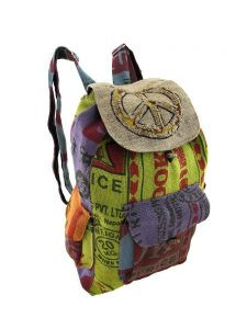Colorful Burlap Recycled Rice Bag Peace Sign Drawstring Backpack