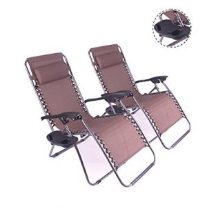 Polar Aurora 2pack Darker Brown Color Zero Gravity Chairs Recliner Lounge Patio Chairs Folding