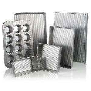 USA Pan Bakeware Aluminized Steel 6 Piece Set, Cookie Sheet, Half Sheet, Loaf Pan, Rectangular Pan, Square Cake Pan, 12 Cup Muffin Pan