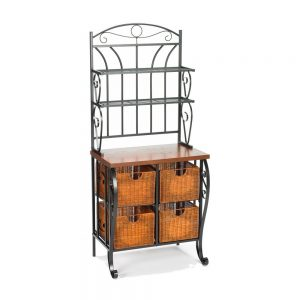 Iron/Wicker Bakers Rack
