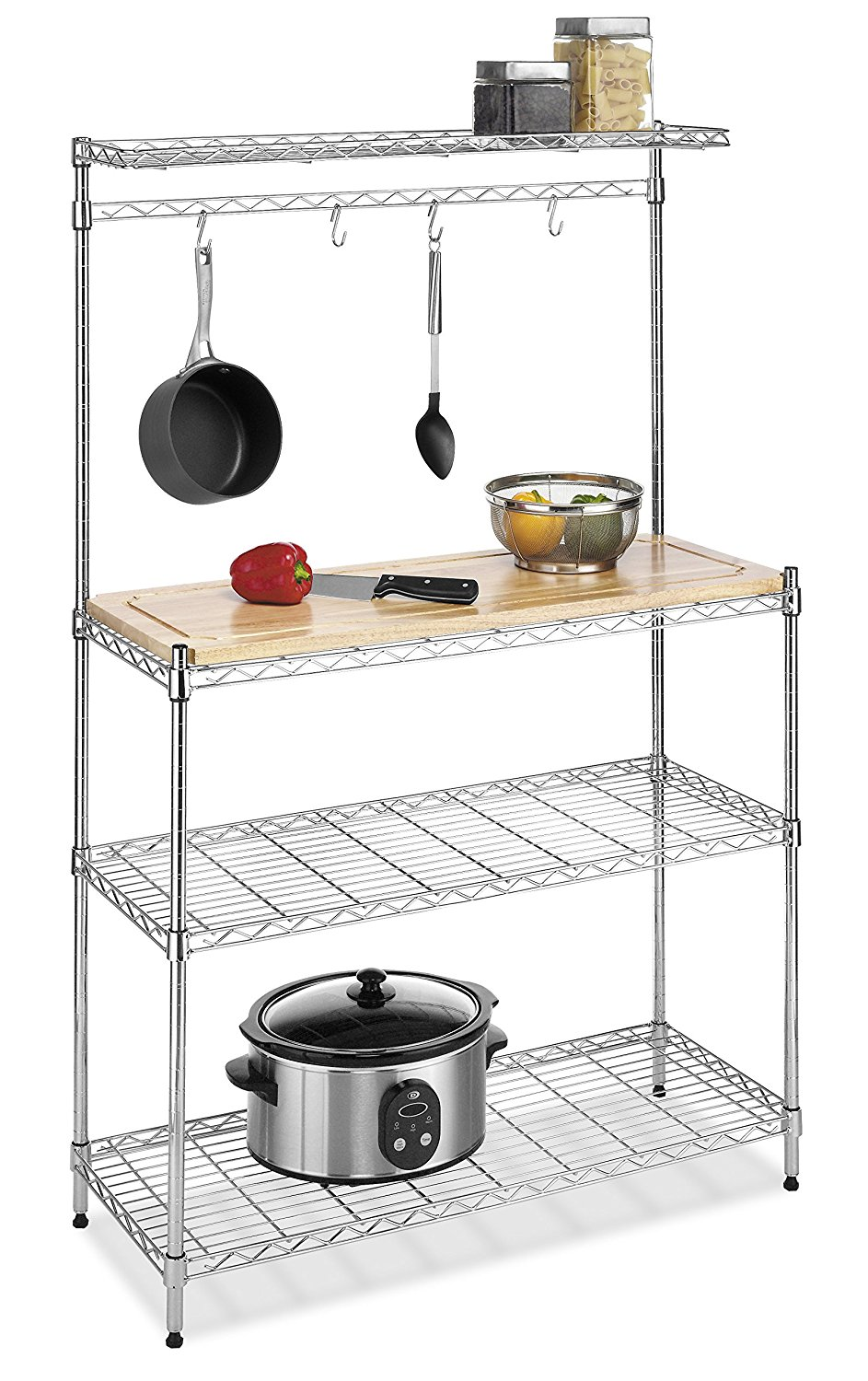 Whitmor Supreme Baker's Rack, Wood & Chrome