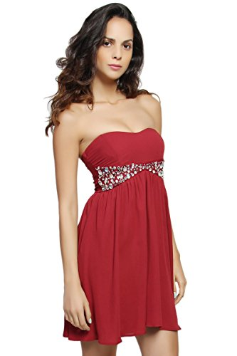 TheMogan Women's Strapless Rhinestone Jeweled Fit and Flare Mini Prom Party Dress