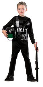 S.W.A.T. Kid Halloween Costume Kids S.W.A.T. Halloween Costume Go up a size when ordering this costume because the sizing does run a bit small. You will get a jumpsuit with a helmet and boot tops, as well as a decorated vest top with accessories like plastic handcuffs, flashlight and phone, and binoculars, grenade and badge toys. This is a great outfit because it comes with so many accessories which are all attached to the vest with Velcro. Make sure you attach everything well when dressing your child in this S.W.A.T. team costume, else some of the accessories might come loose. This one is made of a good quality material, and it will not fall apart the first time your son wears it, unlike some other cute kid Halloween costumes, so if this is something you think he would like, it is a recommended buy.