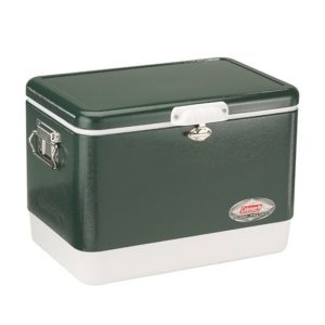 Coleman Camping Tailgating 54 QT Stainless Steel Belted Ice Chest Cooler