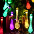 Icicle Solar String Lights, 15.7ft 8 Light Modes 20 LED Water Drop Fairy String Lighting for Indoor/Outdoor Home, Patio, Lawn, Garden, Party, Christmas, and Holiday Decorations (Multi-color)