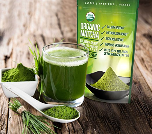 Matcha Green Tea Powder - Japanese Organic Culinary Grade Matcha - 4 oz (113 grams) - Increases Energy and Focus and Naturally Supports Weight Loss - From Kiss Me...