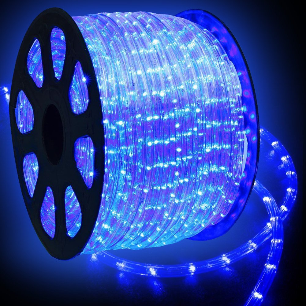 WYZworks 150' feet Blue LED Rope Lights - Flexible 2 Wire Accent Holiday Christmas Party Decoration Lighting