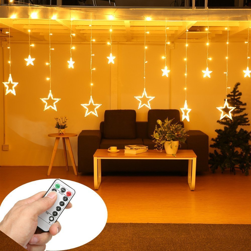 top 8 best christmas curtain lights reviews 2018. Black Bedroom Furniture Sets. Home Design Ideas