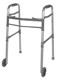 "Drive Medical Two Button Folding Universal Walker with 5"" Wheels"