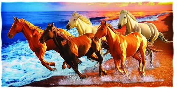 Horses on the Beach Cotton Beach Towel by Dawhud Direct