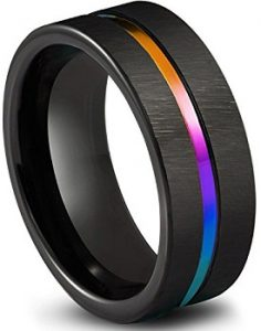 Queenwish Black Tungsten Carbide Wedding Band 8mm Colorful Rainbow Couple Ring