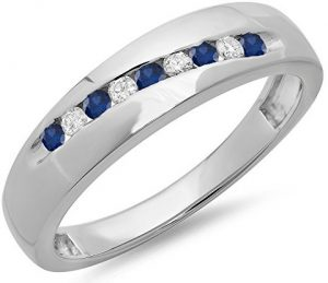 Sterling Silver Round Cut Blue Sapphire & White Diamond Men's Stackable Anniversary Wedding Band