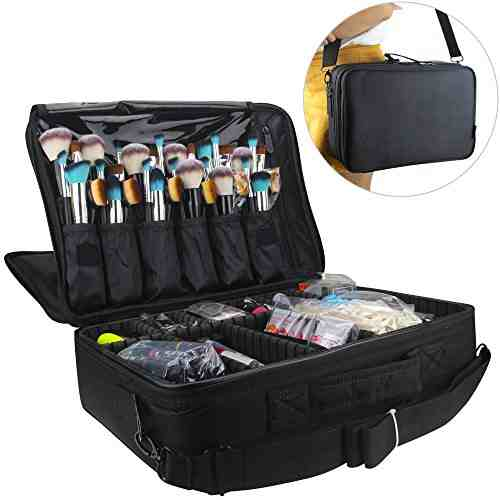 Samtour Professional Makeup Train Case Cosmetic Organizer Make Up Artist Box 2 layer Large Size with Adjustable