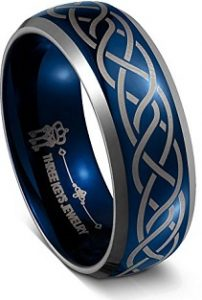 Three Keys Jewelry 8MM Tungsten Wedding Ring Blue Laser Celtic Knot Wedding Band Engagement Ring for Men