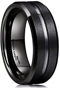 Excellent Black Tungsten Carbide Wedding Band