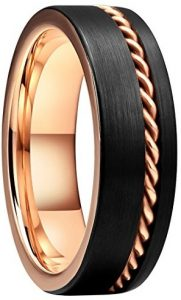 black and rose gold mens wedding band