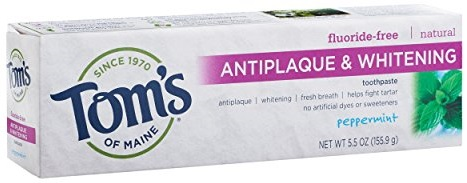 Tom's of Maine Fluoride-Free Antiplaque and whitening Toothpaste, Peppermint, 5.5 oz