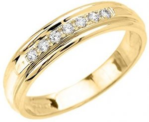 Men's 10k Yellow Gold Diamond Wedding Band