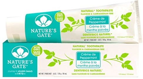 Nature's Gate Natural Toothpaste, Creme de Peppermint, Fluoride Free, Vitamin C; Vegan, Non GMO, Carageenan Free, Gluten Free, Soy Free, Paraben Free, Cruelty Free, 6...