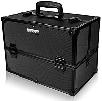 SHANY Essential Pro Makeup Train Case with Shoulder Strap and Locks, Black