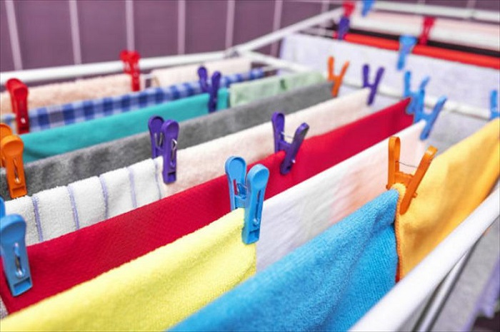 Drying clothes on racks