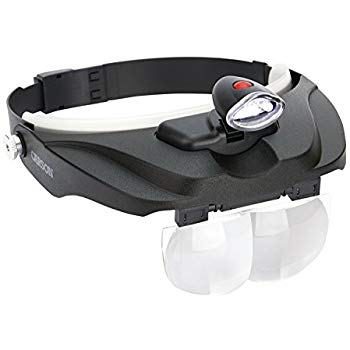 Deluxe Head-Worn LED Lighted Magnifier with 4 Different Lenses (1.5x, 2x, 2.5x, 3x) (CP-60)