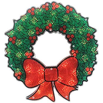 "Northlight 15"" Lighted Holographic Christmas Wreath Window Silhouette Decoration"