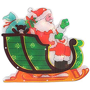 Lighted Holographic Santa in Sleigh Christmas