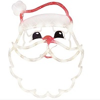 "Impact Innovations 18"" Lighted Santa Claus Face Christmas Window Silhouette Decoration, Red"
