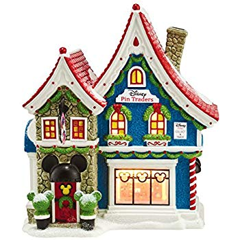 North Pole Village Mickey's Pin Traders Lighted House