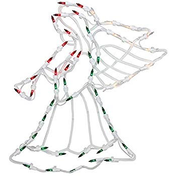 "Northlight 18"" Lighted Red, White and Green Angel Christmas Window Silhouette Decoration"