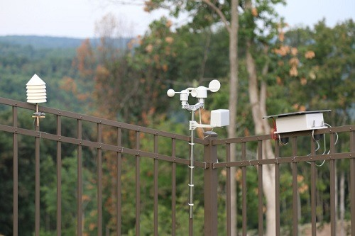 Weather station on the fence